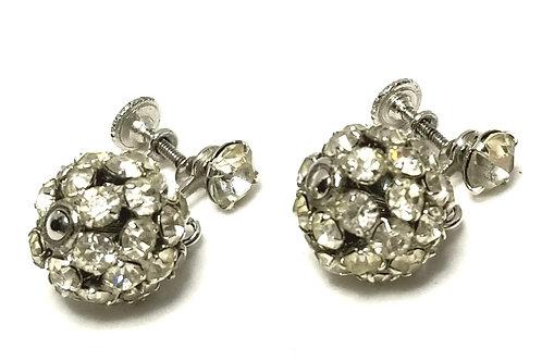 Designer by Weiss, earrings, screw back drops, ball motif, clear rhinestones