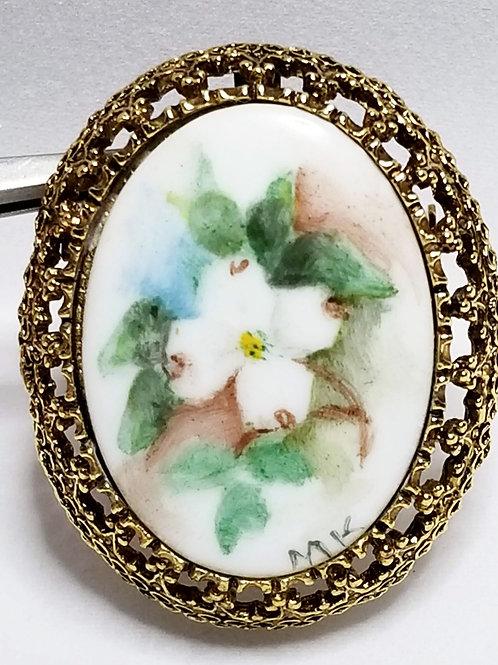 Designer by MK, 1987 Dogwood Festival, brooch, flower motif in gold tone
