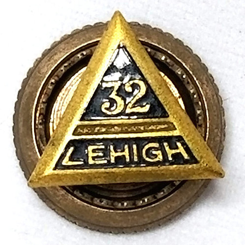 Designer by W&H Co., pin, Lehigh 32nd Degree Masonic motif, black inlay.