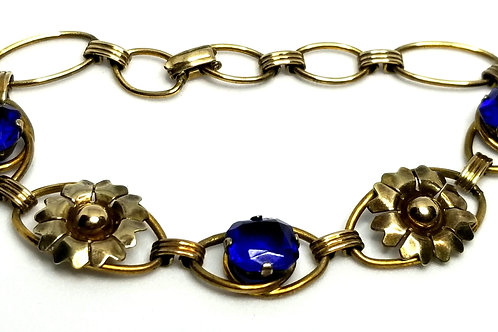 Designer by provenance, bracelet, blue faceted stones, gold tone, 7 inches.