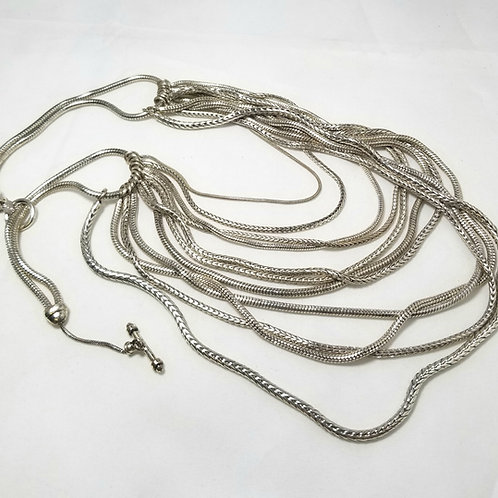 Monet, Silver tone multi strand necklace, 16 1/2 inches long