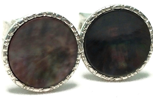Designer by Hickok, cuff links, abalone like stones, silver tone, 1/2 inch.