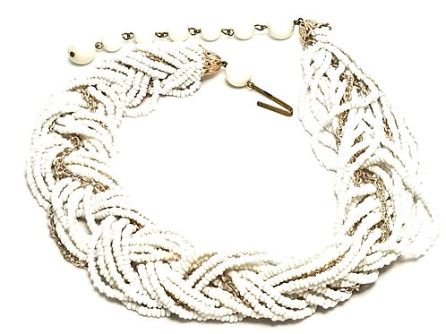 Designer by West Germany, necklace, white beaded and gold tone twisted strands.