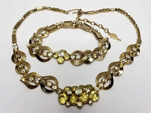 Designer by Sarah Coventry, set, necklace, bracelet, yellow w/clear rhinestones.