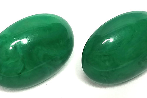 Designer by provenance, earrings, pierced green oval cabochons, 1/2 x 1 inch.