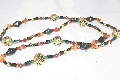 Designer by provenance, neck wear, necklace multi-colored gemstone beaded