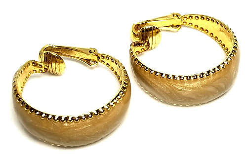 Designer by provenance, earrings, clip on, hoops, gold tone, 1 inch.