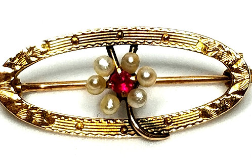 Designer by provenance, brooch, flower motif, red stone, white seed pearls, 10K,