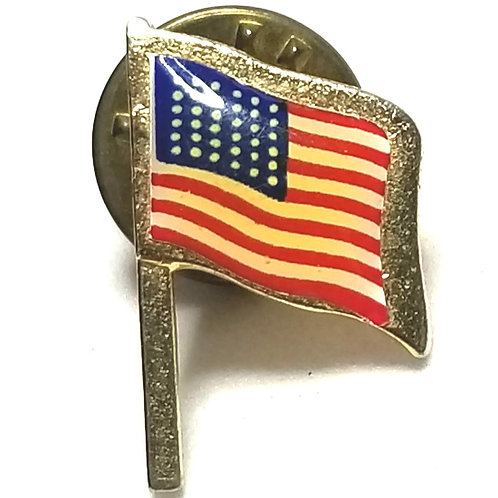 Designer by Camco, tie tack/pin, US flag motif, multi color.
