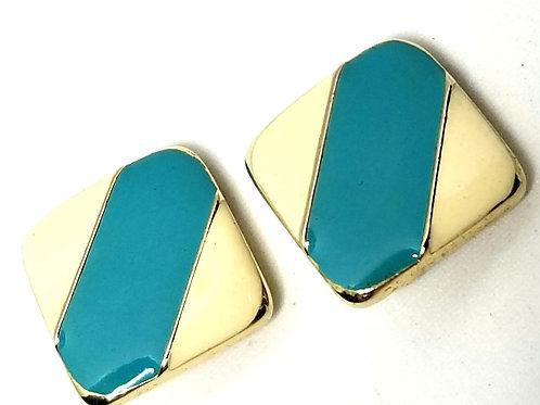 Designer by Robert/Ellen Designs, earrings, clip on, enamel cream and blue.
