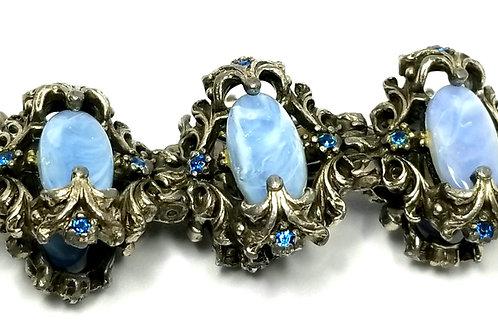 Designer by provenance, bracelet, blue oval stones, blue rhinestones, 6 1/2 inch