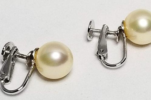 Designer by , set, Marvella, earrings, screw back pearls in silver tone.
