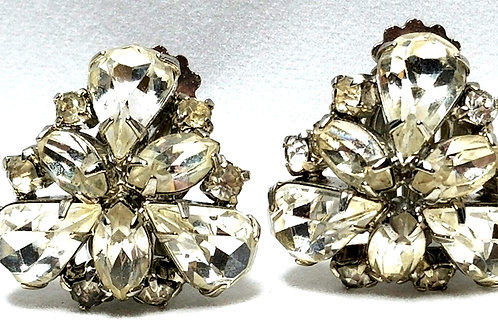 Designer by Weiss, earrings, clip on, rhinestone clusters in silver tone.