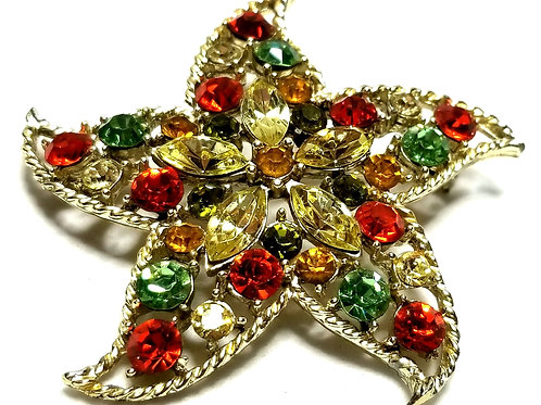 Designer by provenance, brooch, starfish motif, multi color rhinestones.