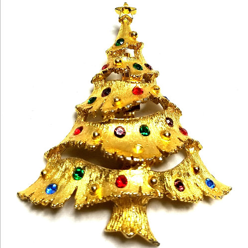 Designer by JJ, brooch, Christmas tree motif, multi color, gold tone.