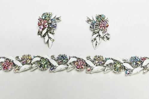 Designer by Lisner, set, bracelet and earrings, clip on, multi colored flowers
