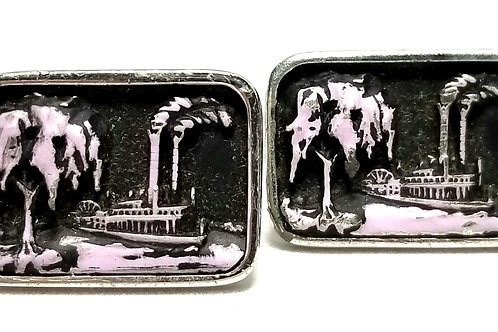 Designer by Hickok, cuff links, riverboat motif, silver tone, 1 1/8 x 3/4 inch.