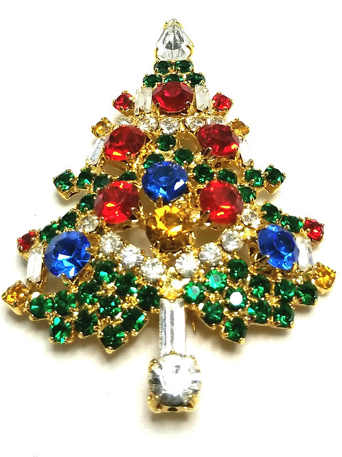 Designer by provenance, brooch, Christmas tree motif, multi color rhinestones.