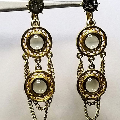 Designer by Celebrity, earrings, clip on dangle, smoky glass cabochons in gold