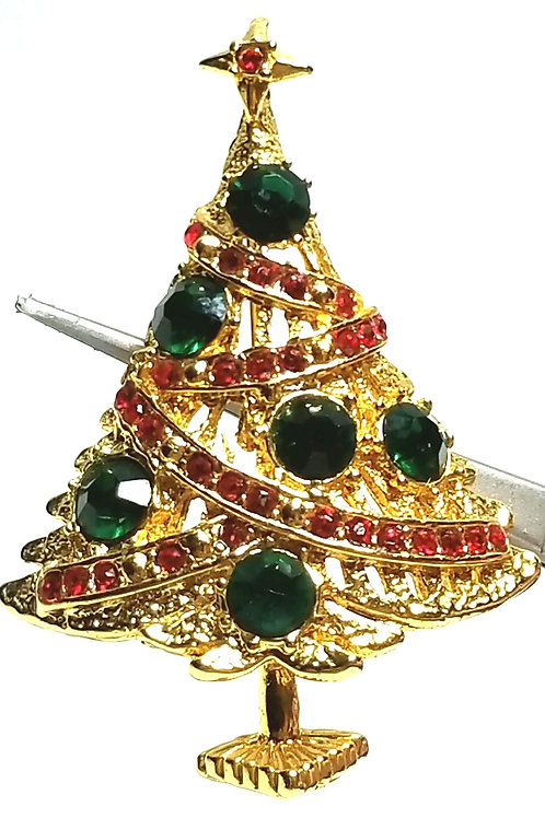 Designer by provenance, brooch, Christmas tree motif, multi color crystals.