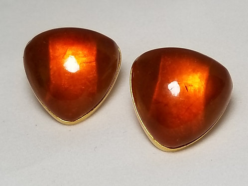 Designer by RPR, cuff links, mid-century Baltic Amber, 3/4 inch