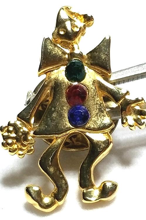 Designer by provenance, brooch, clown motif, multi color, gold tone, 3/4 x 1 in.