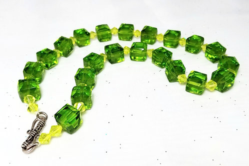 Designer by provenance, neck wear, chunky green necklace 18 inch