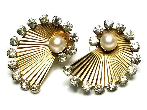 Designer by provenance, earrings, pierced, fan motif, faux pearls, rhinestones