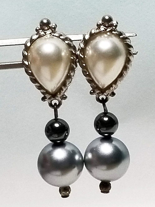 Designer by Express, earrings, pierced multi colored pearl silver tone dangles.