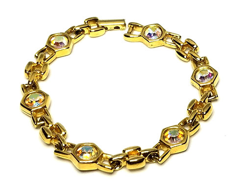 Designer by provenance, bracelet, clear rhinestones, gold tone, 7 inches.
