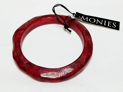 Designer by Monies, bracelet, bangle, red resin.