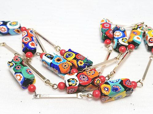 Designer by provenance, neck wear, necklace, multi-color beaded 32 inch