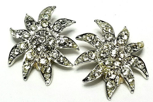 Designer By Sarah Cov, earrings, clip on floral motif, clear rhinestones.