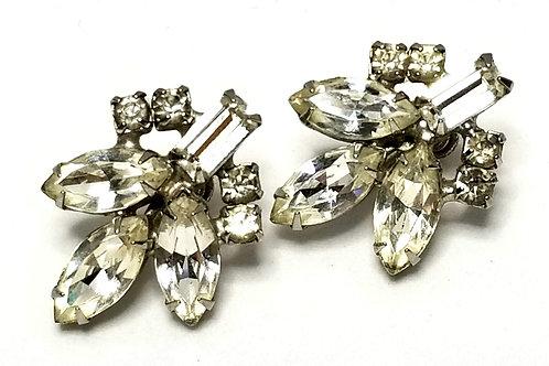 Designer by Weiss, earrings, screw back, clear rhinestones in silver tone.