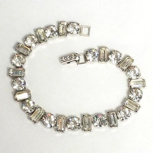 Rhinestone bracelet, designer by provenance, 7 1/2 inches, silver tone