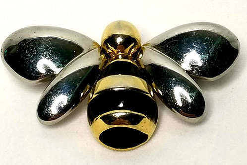 Designer by L.C., brooch, bumble bee motif,black with gold tone and silver tone.