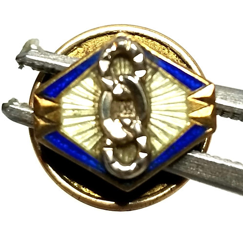 Designer by CTO, pin, blue enamel in gold tone, 14K top, 3/8 inch.
