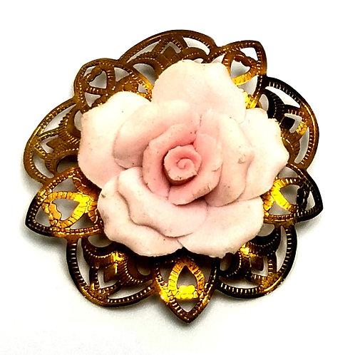 Designer by provenance, brooch, flower motif, pink rose cabochon, gold tone.