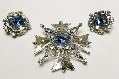 Designer by Coro, set, brooch/slide pendant earrings, blue rhinestones cross
