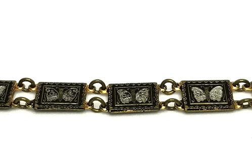 Designer by provenance, bracelet, links, butterfly motif, black/silver tone.