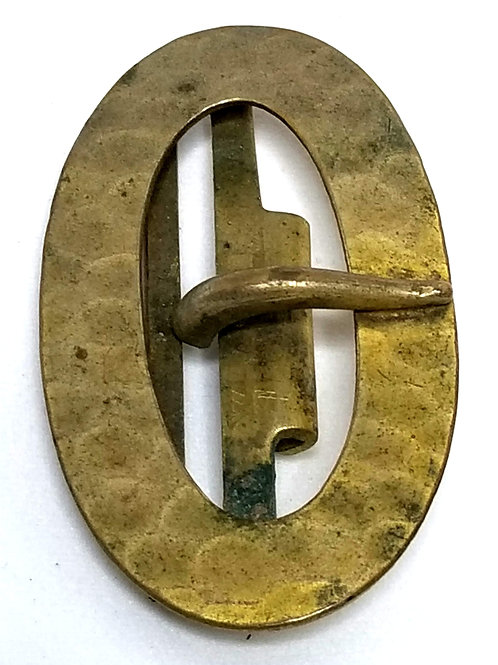Designer by FNCO, belt buckle, oval gold tone 1 1/8 x 2 inches.