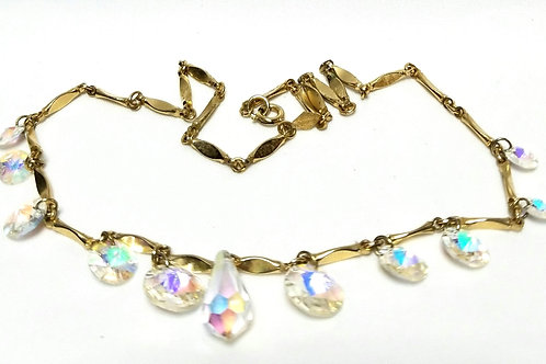 Designer by Sarah Cov, necklace, aurora borealis crystal in gold tone, 18 inches