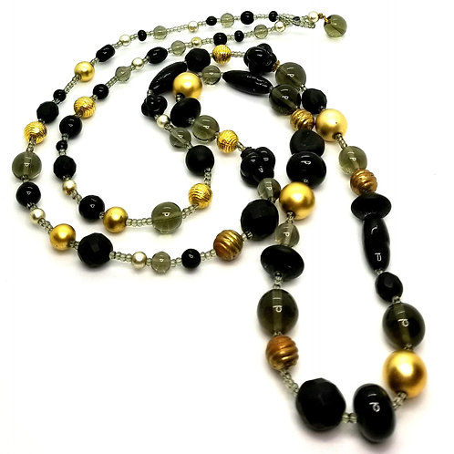 Designer by provenance, necklace, black, grey and gold tone beads, 36 inches.