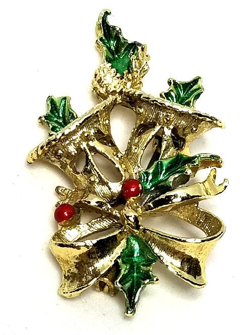 Designer by Gery's, brooch, Christmas motif, multi color enamel, gold tone.