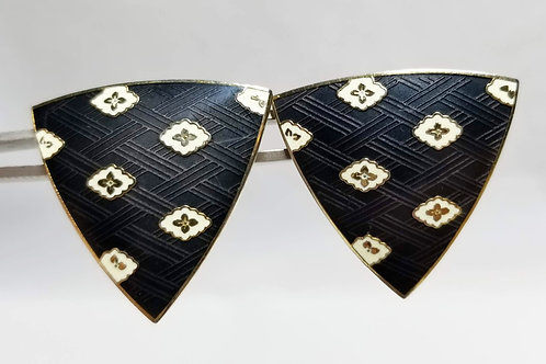Designer by Musi, earrings, pierced black print triangles in gold tone pot metal