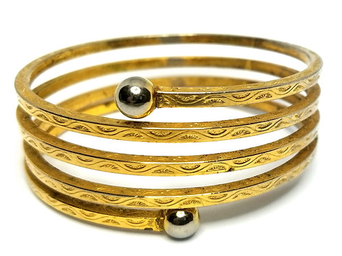 Designer by provenance, bracelet, spiral bangle, gold tone, 7 3/4 to 8 inches.