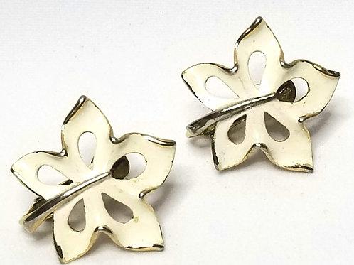 Designer by Napier, earrings, screw back, maple leaf motif, white enamel gold to