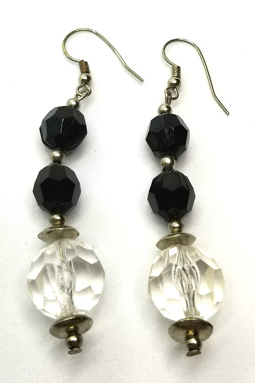 Designer by provenance, earrings, pierced wire dangles, black/clear faceted bead