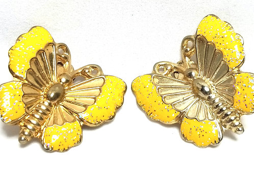 Designer by provenance, earrings, clip on butterfly motif, yellow and gold tone.