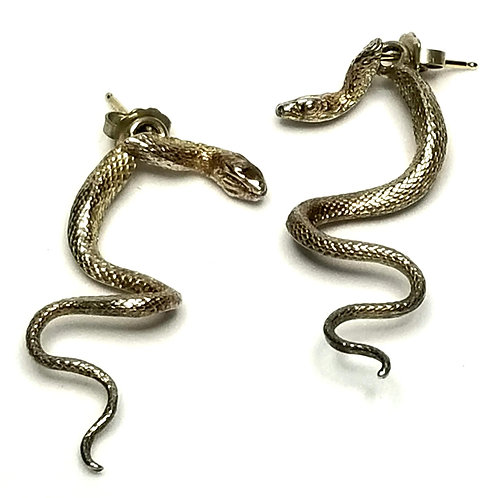 Designer by provenance, earrings, pierced posts, snake motif, Sterling silver.